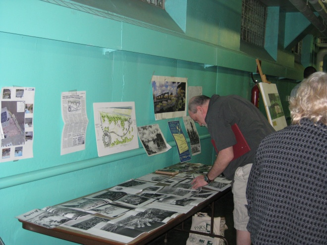 Port Richmond resident Michael Duffy looks at images of his neighborhood's waterfront history.