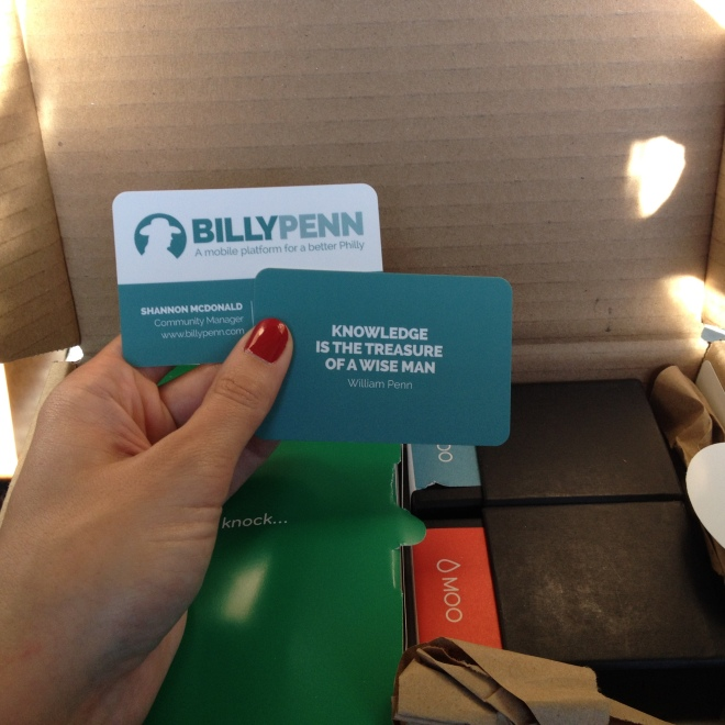 Credit card-size plastic business cards for the Billy Penn staff.