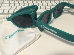 We had these foldable sunglasses custom made from Philly startup Glass-U.